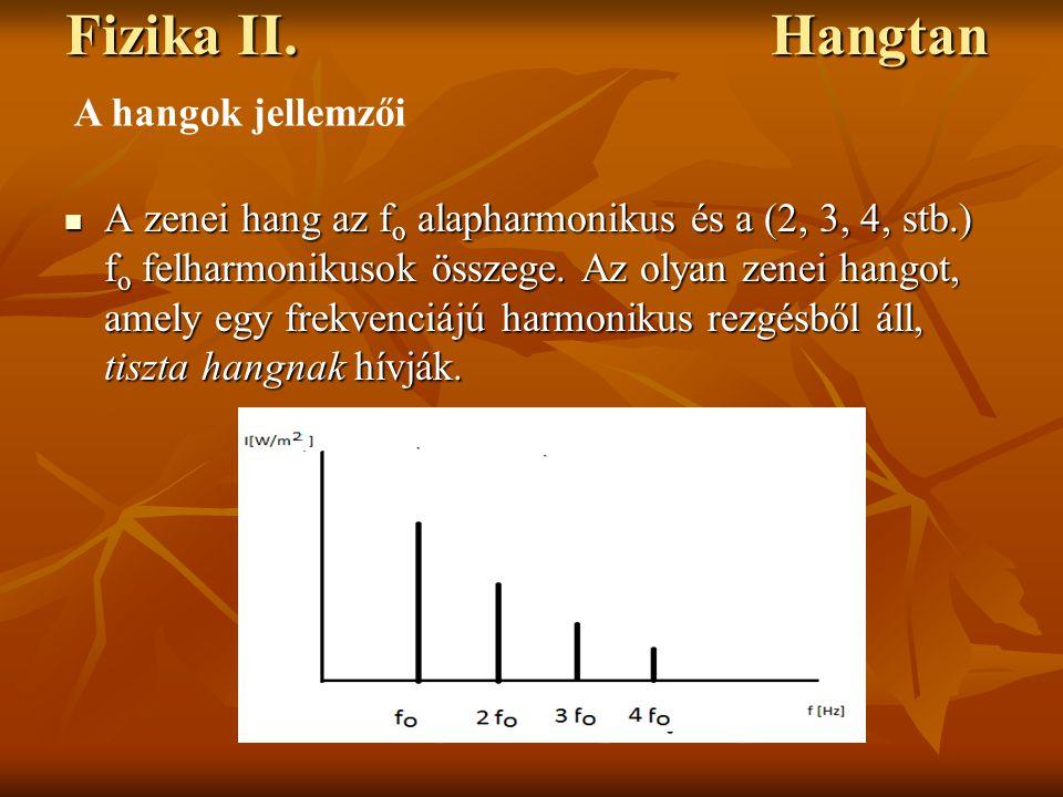 Fizika II. Hangtan A zenei hang az f o alapharmonikus és a (2, 3, 4, stb.) f o felharmonikusok összege. Az olyan zenei hangot, amely egy frekvenciájú