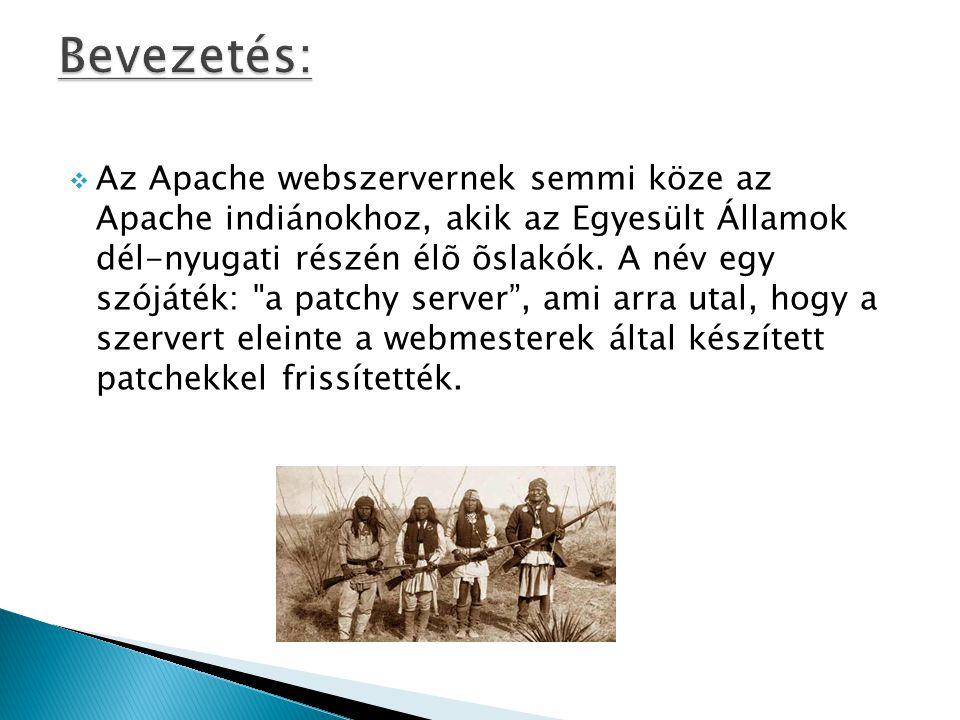  Az Apache webszervernek semmi köze az Apache indiánokhoz, akik az Egyesült Államok dél-nyugati részén élõ õslakók.
