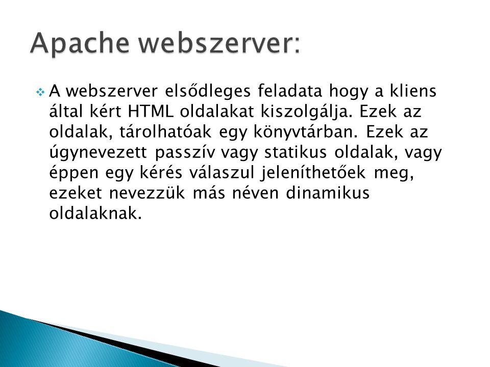 A webszerver elsődleges feladata hogy a kliens által kért HTML oldalakat kiszolgálja.