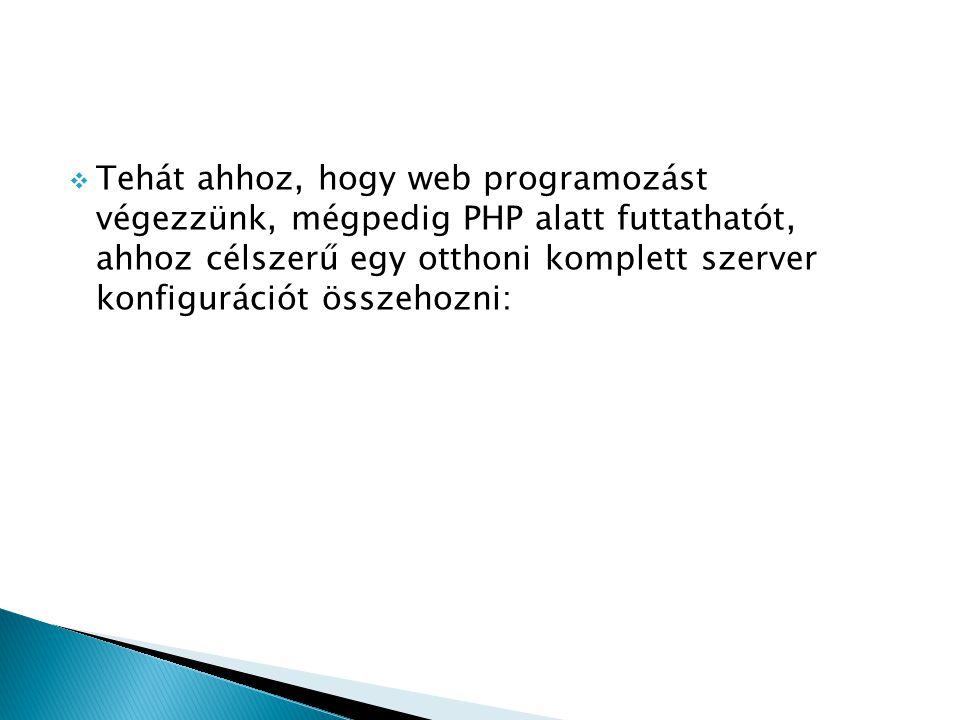 Ennek lépései a következök: Szükséges programok letöltése…… 1) apache_2.2.3-win32-x86-no_ssl.msi 2) php-4.3.10-Win32.zip 3) php-5.2.0-win32-installer.msi