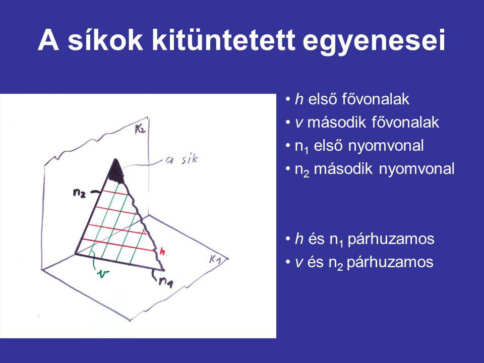 A síkok kitüntetett egyenesei h első fővonalak v második fővonalak n 1 első nyomvonal n 2 második nyomvonal h és n 1 párhuzamos v és n 2 párhuzamos