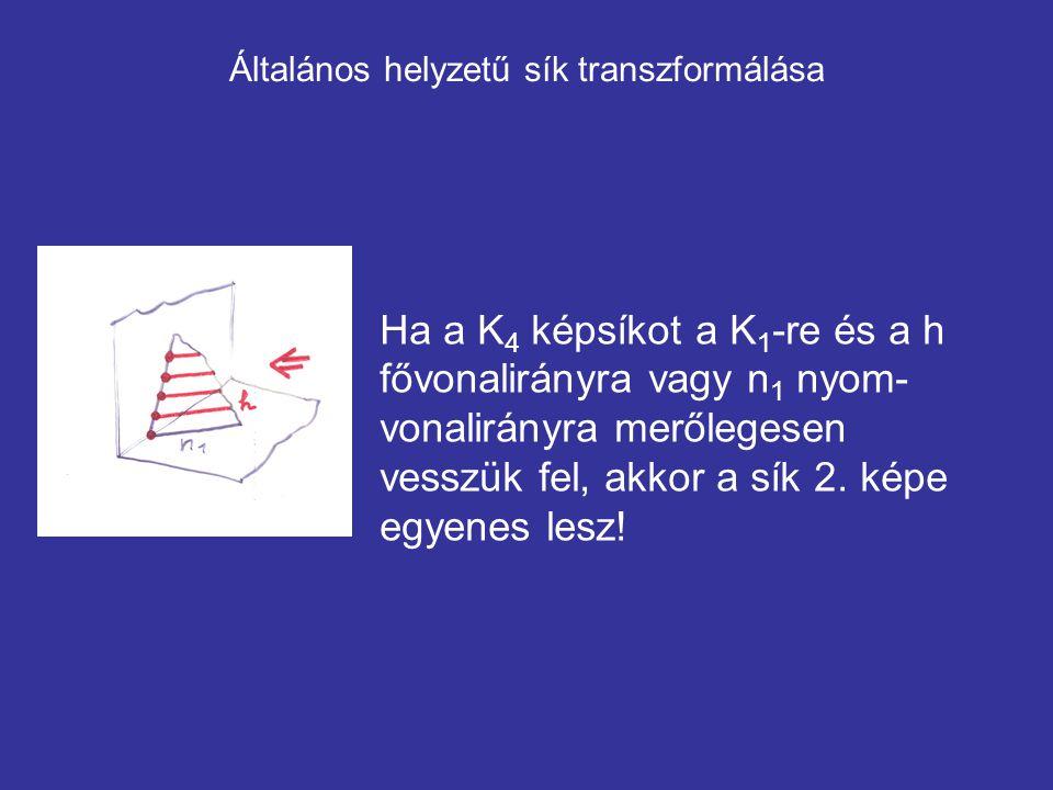 Általános helyzetű sík transzformálása Ha a K 4 képsíkot a K 1 -re és a h fővonalirányra vagy n 1 nyom- vonalirányra merőlegesen vesszük fel, akkor a