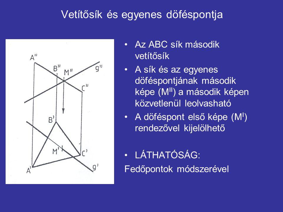 Vetítősík és egyenes döféspontja Az ABC sík második vetítősík A sík és az egyenes döféspontjának második képe (M II ) a második képen közvetlenül leol