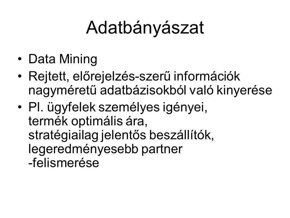Adatbányászat Data Mining Rejtett, előrejelzés-szerű információk nagyméretű adatbázisokból való kinyerése Pl. ügyfelek személyes igényei, termék optim
