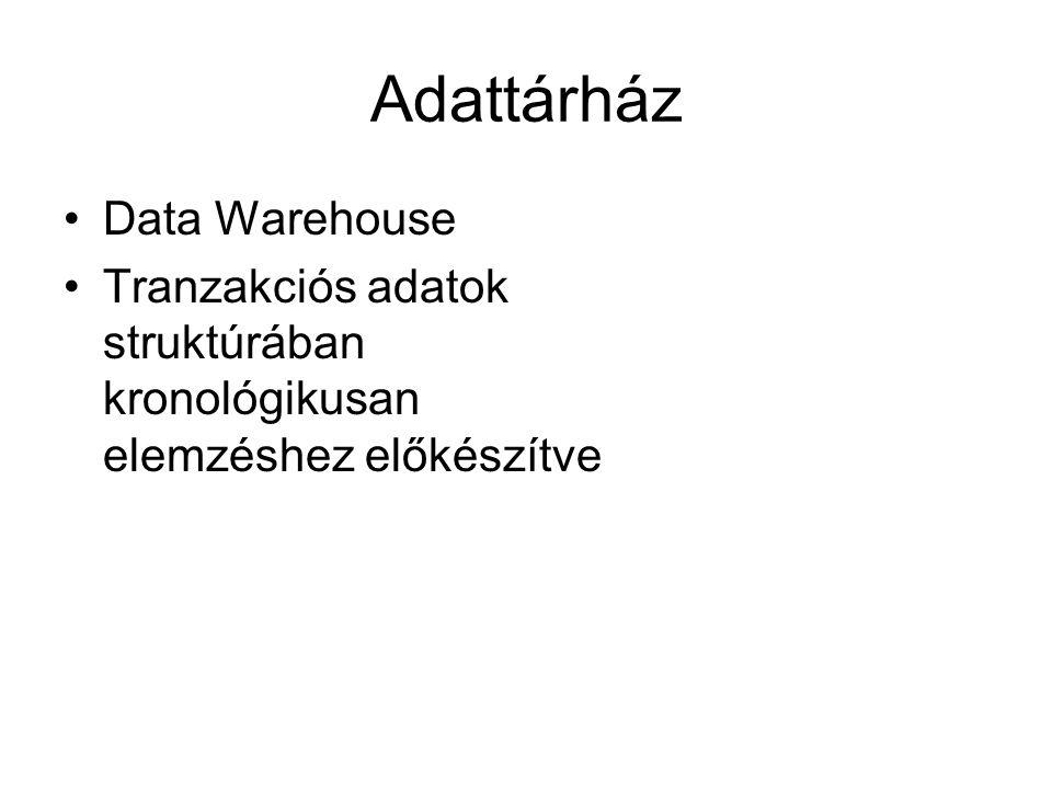 Adattárház Data Warehouse Tranzakciós adatok struktúrában kronológikusan elemzéshez előkészítve
