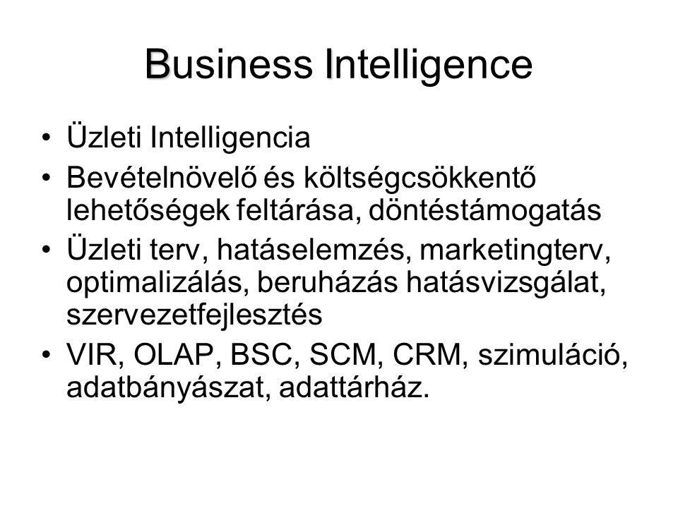 BI Business Intelligence Üzleti Intelligencia Bevételnövelő és költségcsökkentő lehetőségek feltárása, döntéstámogatás Üzleti terv, hatáselemzés, mark