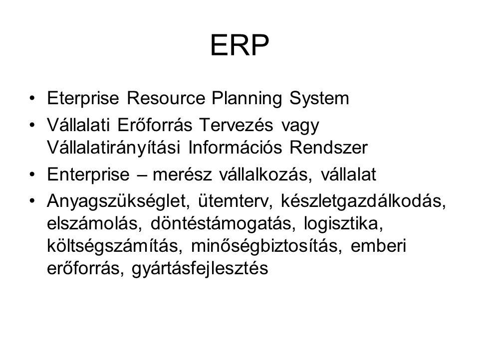 ERP Eterprise Resource Planning System Vállalati Erőforrás Tervezés vagy Vállalatirányítási Információs Rendszer Enterprise – merész vállalkozás, váll