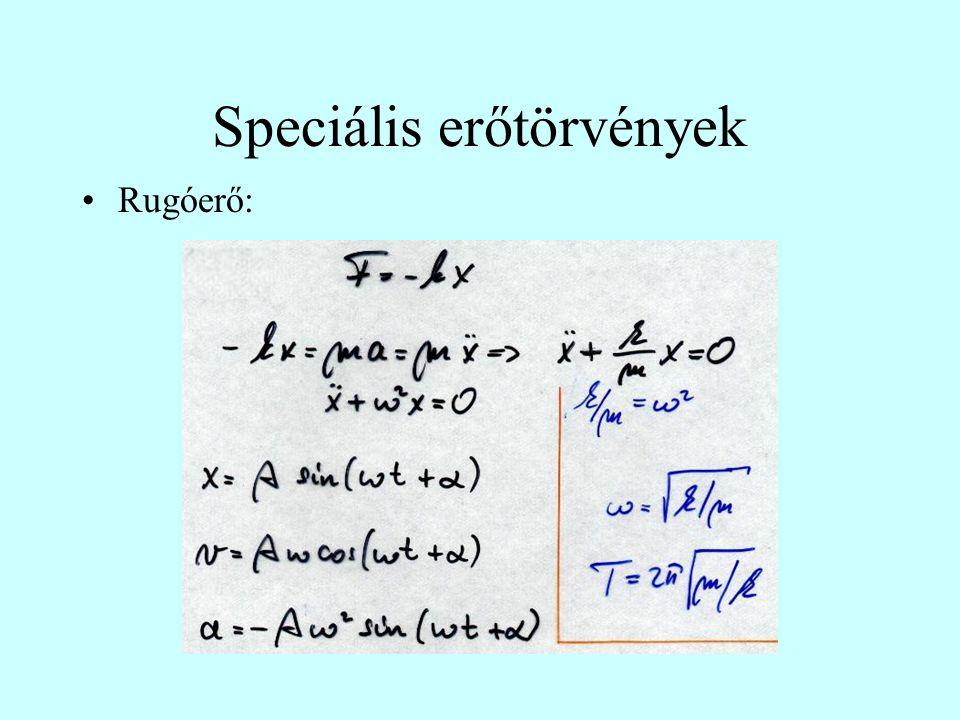 Speciális erőtörvények Rugóerő: