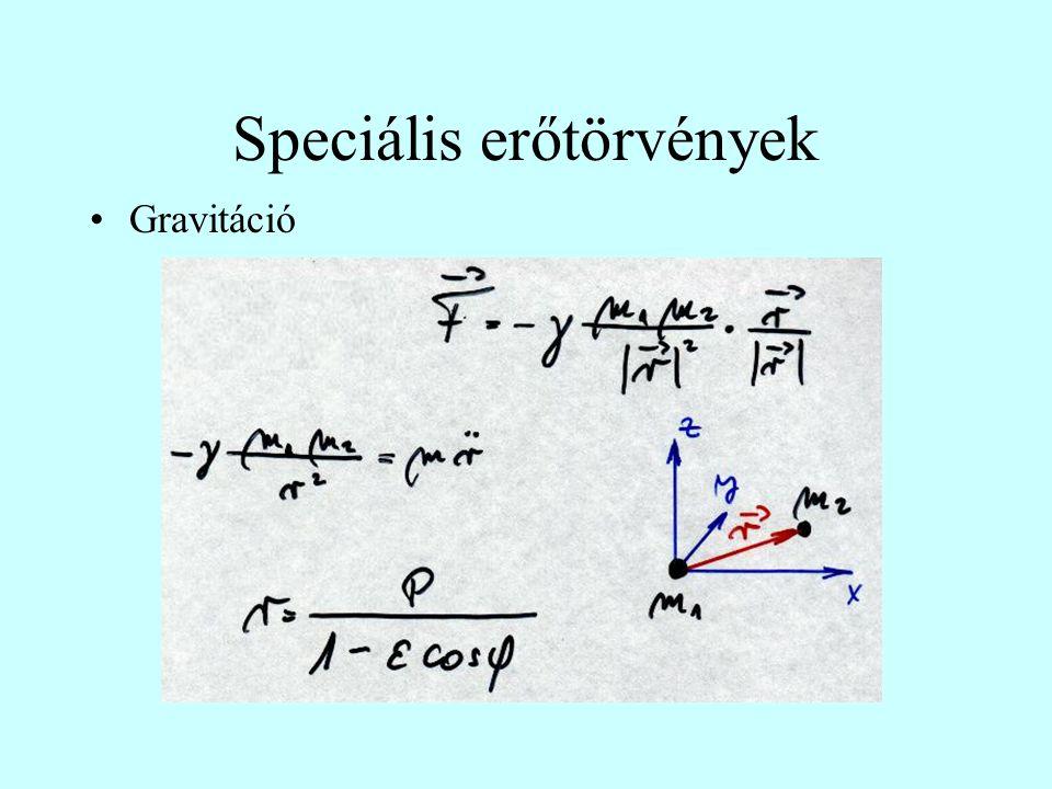 Speciális erőtörvények Gravitáció