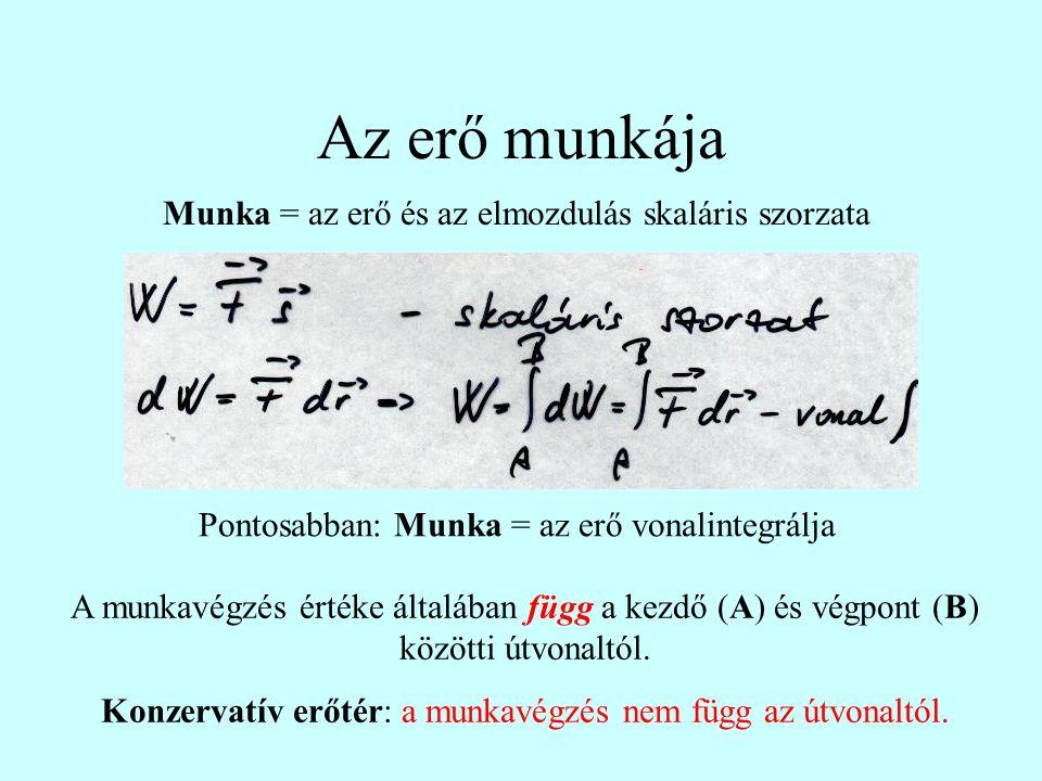 Az erő munkája Munka = az erő és az elmozdulás skaláris szorzata Pontosabban: Munka = az erő vonalintegrálja A munkavégzés értéke általában függ a kez