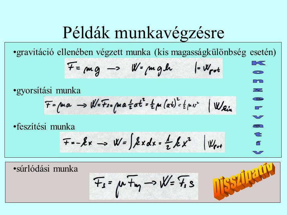 Példák munkavégzésre gravitáció ellenében végzett munka (kis magasságkülönbség esetén) gyorsítási munka feszítési munka súrlódási munka