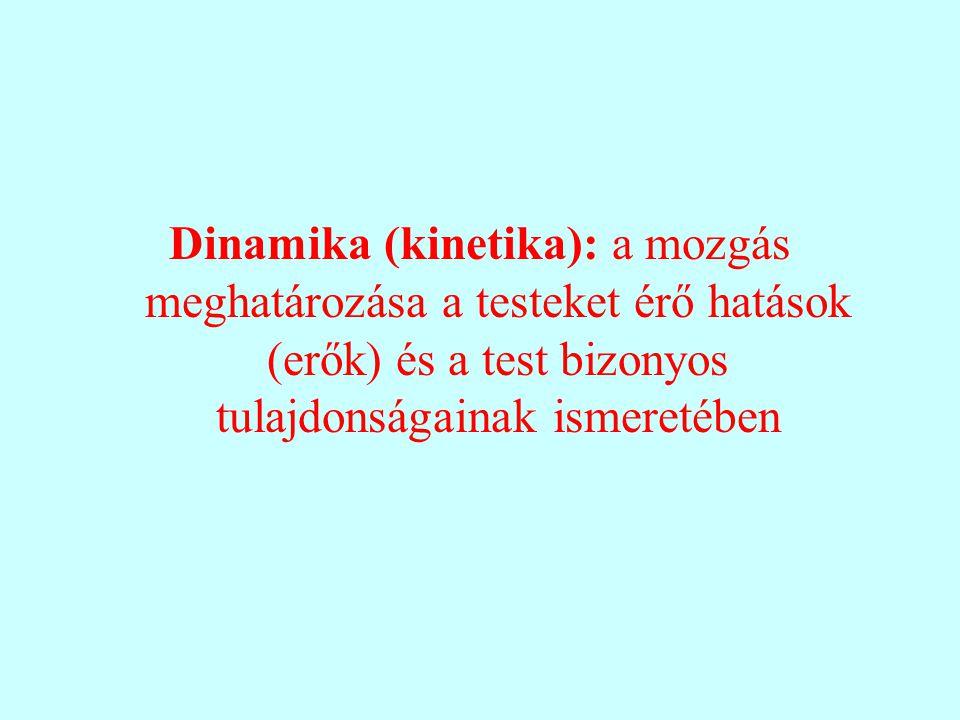 Dinamika (kinetika): a mozgás meghatározása a testeket érő hatások (erők) és a test bizonyos tulajdonságainak ismeretében