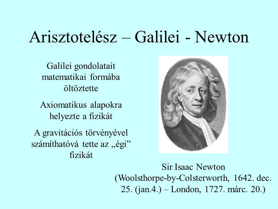 Arisztotelész – Galilei - Newton Sir Isaac Newton (Woolsthorpe-by-Colsterworth, 1642. dec. 25. (jan.4.) – London, 1727. márc. 20.) Galilei gondolatait