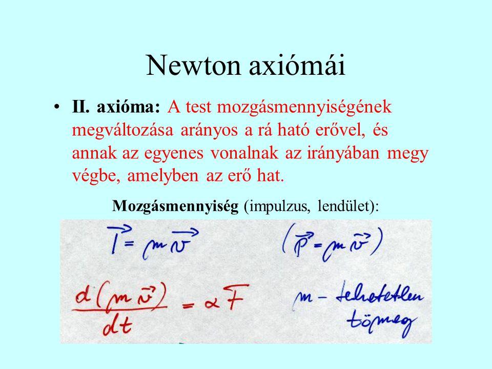 Newton axiómái II. axióma: A test mozgásmennyiségének megváltozása arányos a rá ható erővel, és annak az egyenes vonalnak az irányában megy végbe, ame