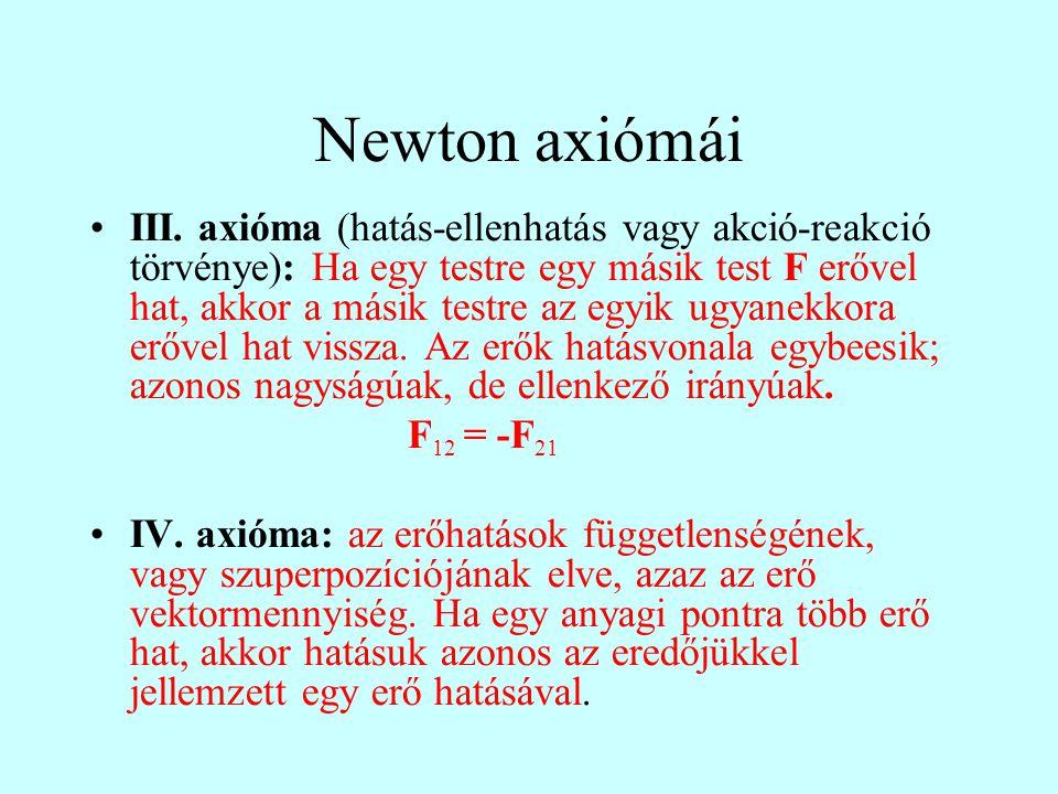 III. axióma (hatás-ellenhatás vagy akció-reakció törvénye): Ha egy testre egy másik test F erővel hat, akkor a másik testre az egyik ugyanekkora erőve