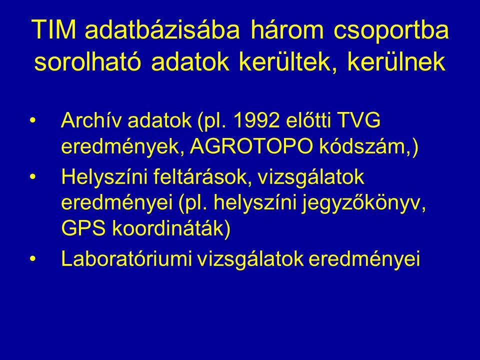 TIM adatbázisába három csoportba sorolható adatok kerültek, kerülnek Archív adatok (pl. 1992 előtti TVG eredmények, AGROTOPO kódszám,) Helyszíni feltá