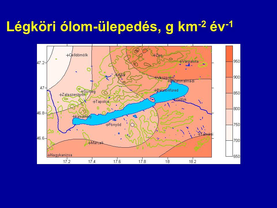 Légköri ólom-ülepedés, g km -2 év -1