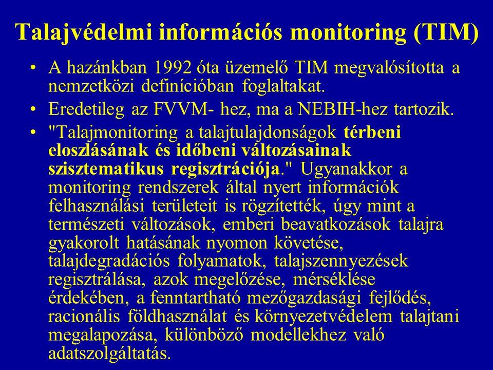 Talajvédelmi információs monitoring (TIM) A hazánkban 1992 óta üzemelő TIM megvalósította a nemzetközi definícióban foglaltakat. Eredetileg az FVVM- h