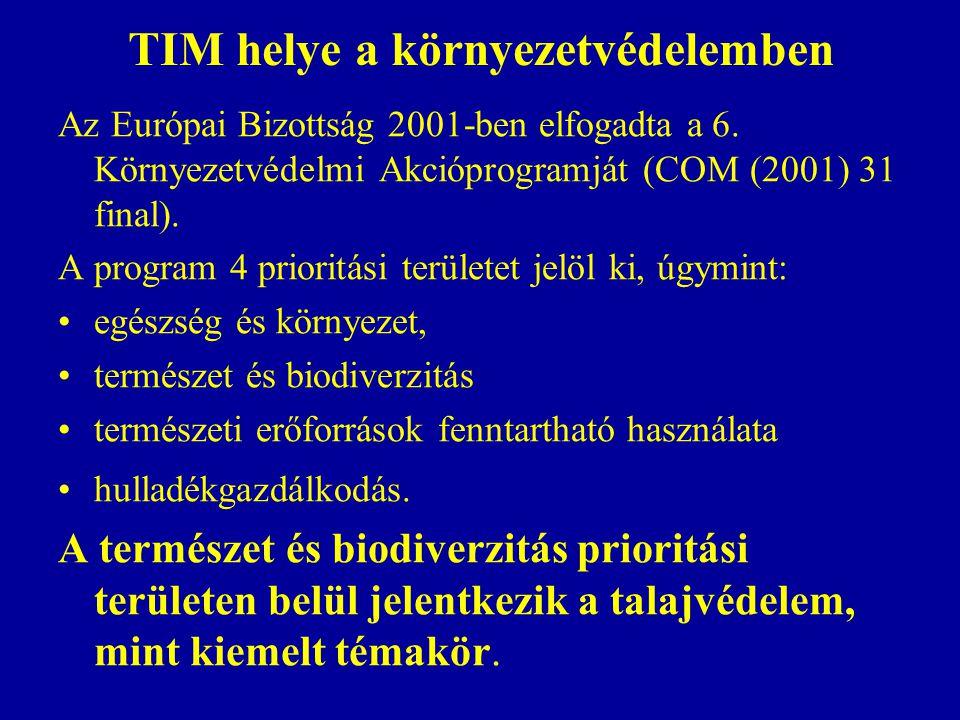 TIM helye a környezetvédelemben Az Európai Bizottság 2001-ben elfogadta a 6. Környezetvédelmi Akcióprogramját (COM (2001) 31 final). A program 4 prior