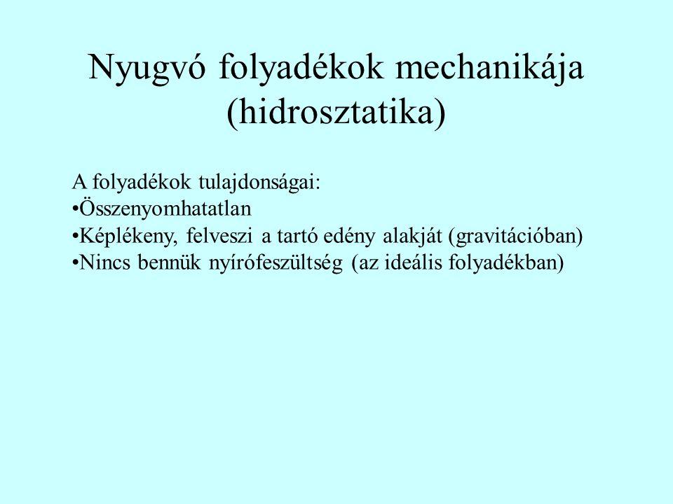 Nyugvó folyadékok mechanikája (hidrosztatika) A folyadékok tulajdonságai: Összenyomhatatlan Képlékeny, felveszi a tartó edény alakját (gravitációban)