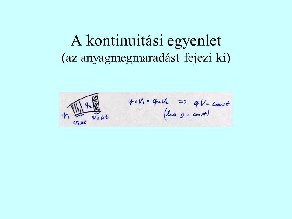 A kontinuitási egyenlet (az anyagmegmaradást fejezi ki)
