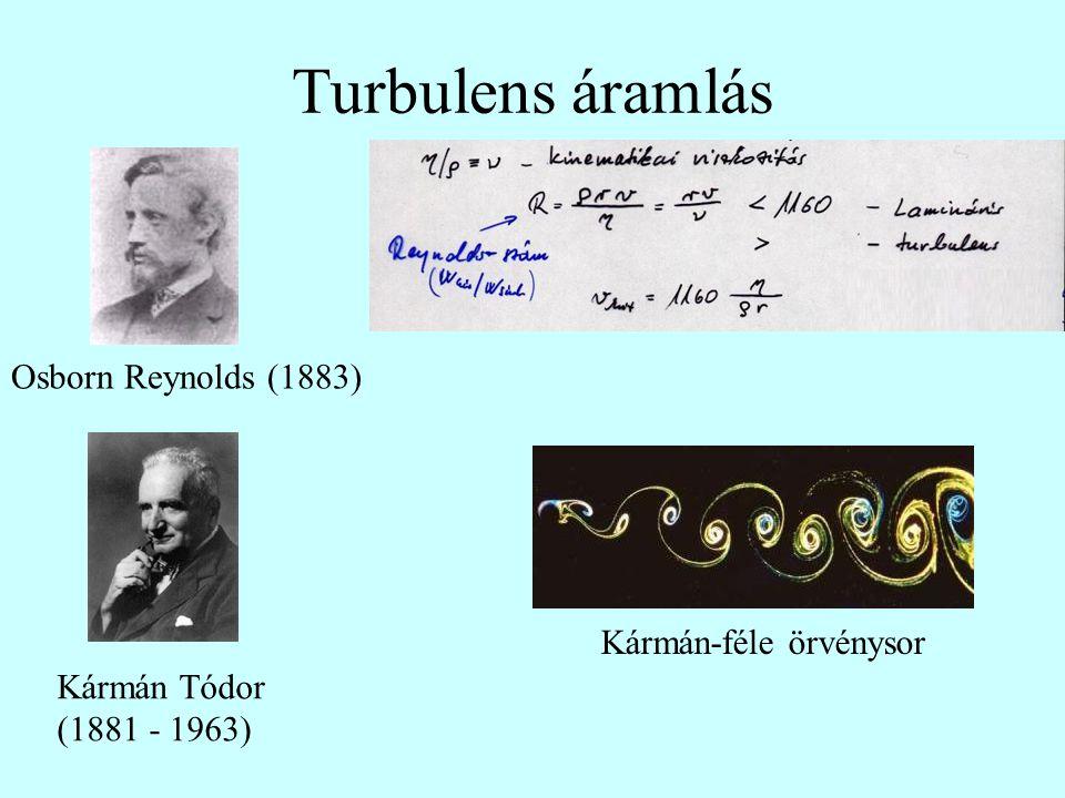 Turbulens áramlás Kármán-féle örvénysor Osborn Reynolds (1883) Kármán Tódor (1881 - 1963)
