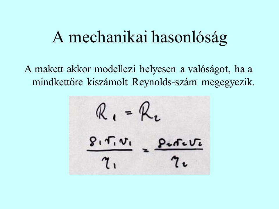 A mechanikai hasonlóság A makett akkor modellezi helyesen a valóságot, ha a mindkettőre kiszámolt Reynolds-szám megegyezik.