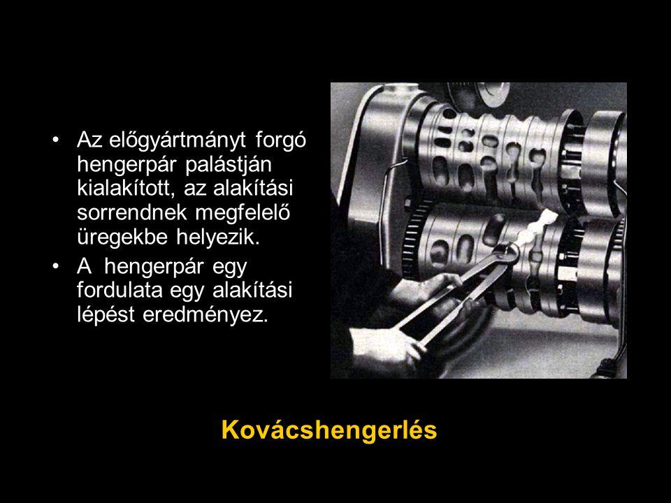 Az előgyártmányt forgó hengerpár palástján kialakított, az alakítási sorrendnek megfelelő üregekbe helyezik. A hengerpár egy fordulata egy alakítási l