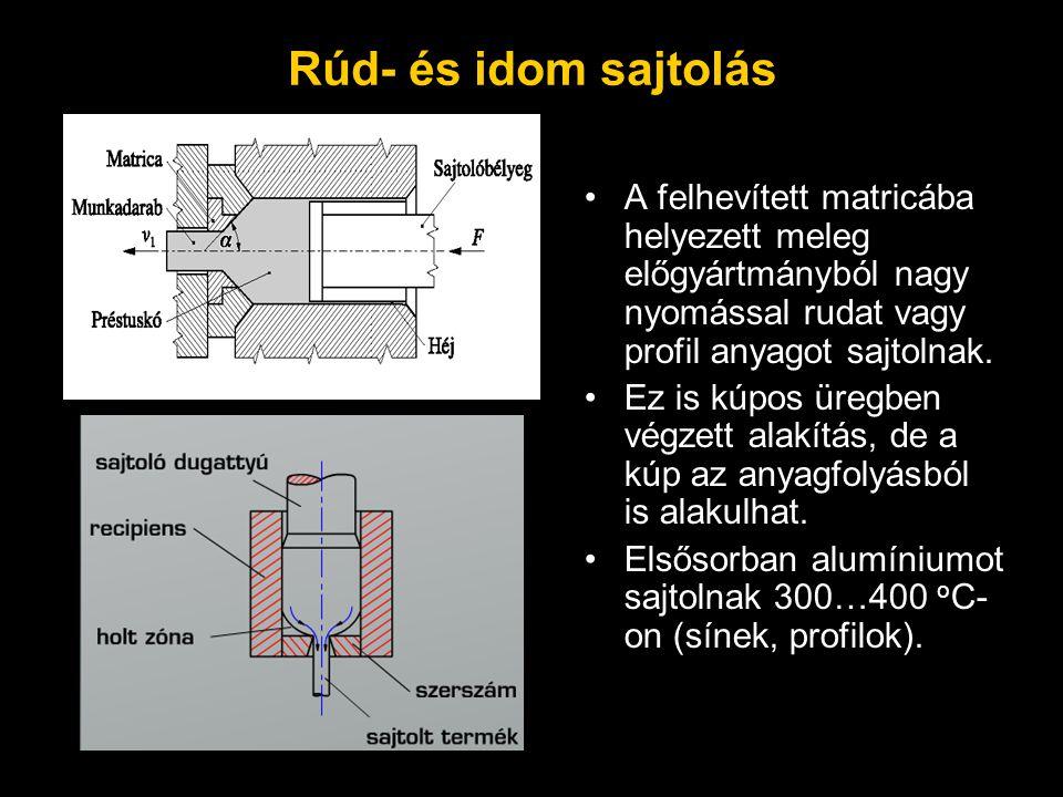 Rúd- és idom sajtolás A felhevített matricába helyezett meleg előgyártmányból nagy nyomással rudat vagy profil anyagot sajtolnak. Ez is kúpos üregben