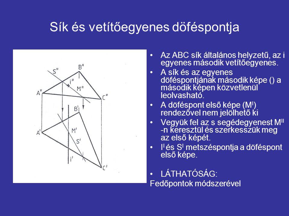Sík és vetítőegyenes döféspontja Az ABC sík általános helyzetű, az i egyenes második vetítőegyenes. A sík és az egyenes döféspontjának második képe ()