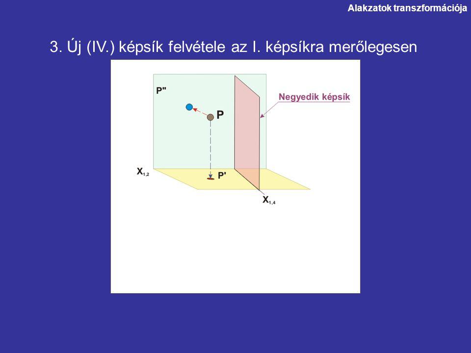 Alakzatok transzformációja 4. A pont képének vetítése a negyedik képsíkra