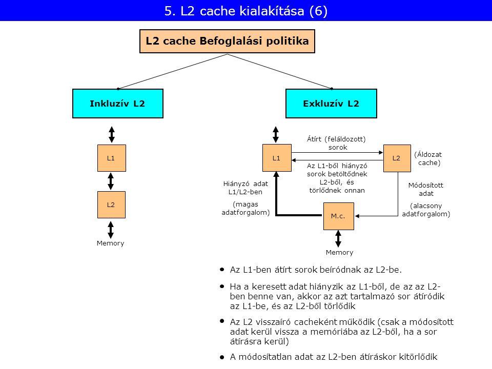 Az L1-ben átírt sorok beíródnak az L2-be. Ha a keresett adat hiányzik az L1-ből, de az az L2- ben benne van, akkor az azt tartalmazó sor átíródik az L