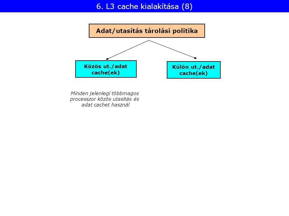 Közös ut./adat cache(ek) Adat/utasítás tárolási politika Külön ut./adat cache(ek) Minden jelenlegi többmagos processzor közös utasítás és adat cachet