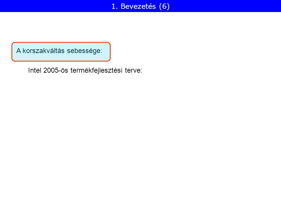 A korszakváltás sebessége: Intel 2005-ös termékfejlesztési terve: 1. Bevezetés (6)