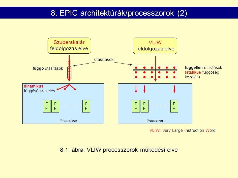 Szuperskalár feldolgozás elve FEFE FEFE FEFE dinamikus függőség kezelés Processzor függő utasítások utasítások VLIW feldolgozás elve FEFE FEFE FEFE VLIW: Very Large Instruction Word független utasítások (statikus függőség kezelés) Processzor 8.1.