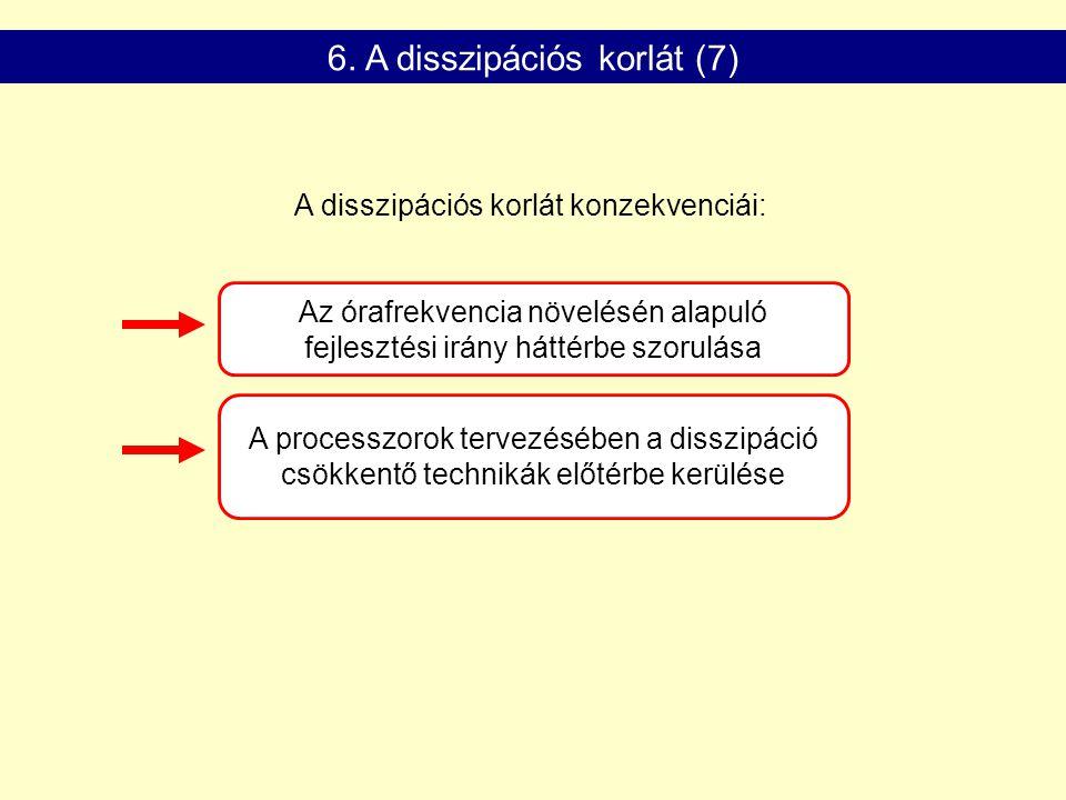 A processzorok tervezésében a disszipáció csökkentő technikák előtérbe kerülése Az órafrekvencia növelésén alapuló fejlesztési irány háttérbe szorulása A disszipációs korlát konzekvenciái: 6.