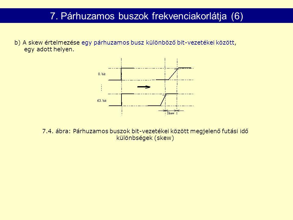 7.4.ábra: Párhuzamos buszok bit-vezetékei között megjelenő futási idő különbségek (skew) 7.