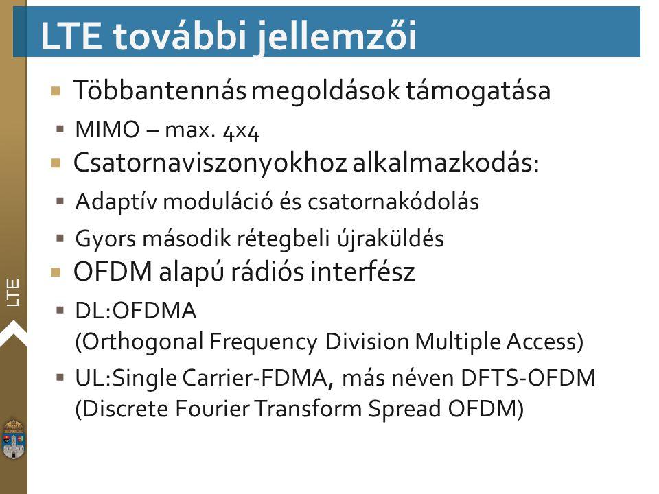 LTE  Többantennás megoldások támogatása  MIMO – max. 4x4  Csatornaviszonyokhoz alkalmazkodás:  Adaptív moduláció és csatornakódolás  Gyors másodi