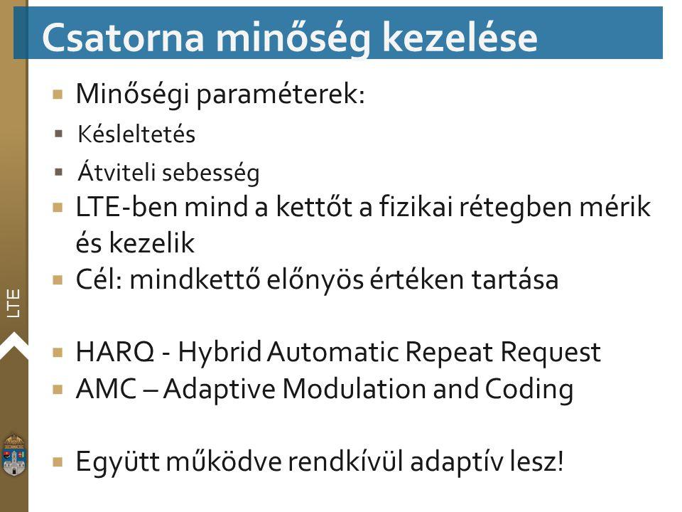 LTE  Minőségi paraméterek:  Késleltetés  Átviteli sebesség  LTE-ben mind a kettőt a fizikai rétegben mérik és kezelik  Cél: mindkettő előnyös ért
