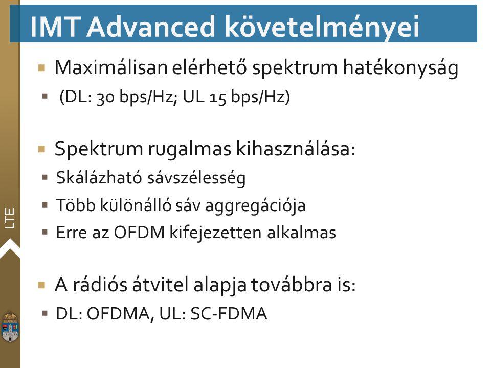 LTE  Maximálisan elérhető spektrum hatékonyság  (DL: 30 bps/Hz; UL 15 bps/Hz)  Spektrum rugalmas kihasználása:  Skálázható sávszélesség  Több kül
