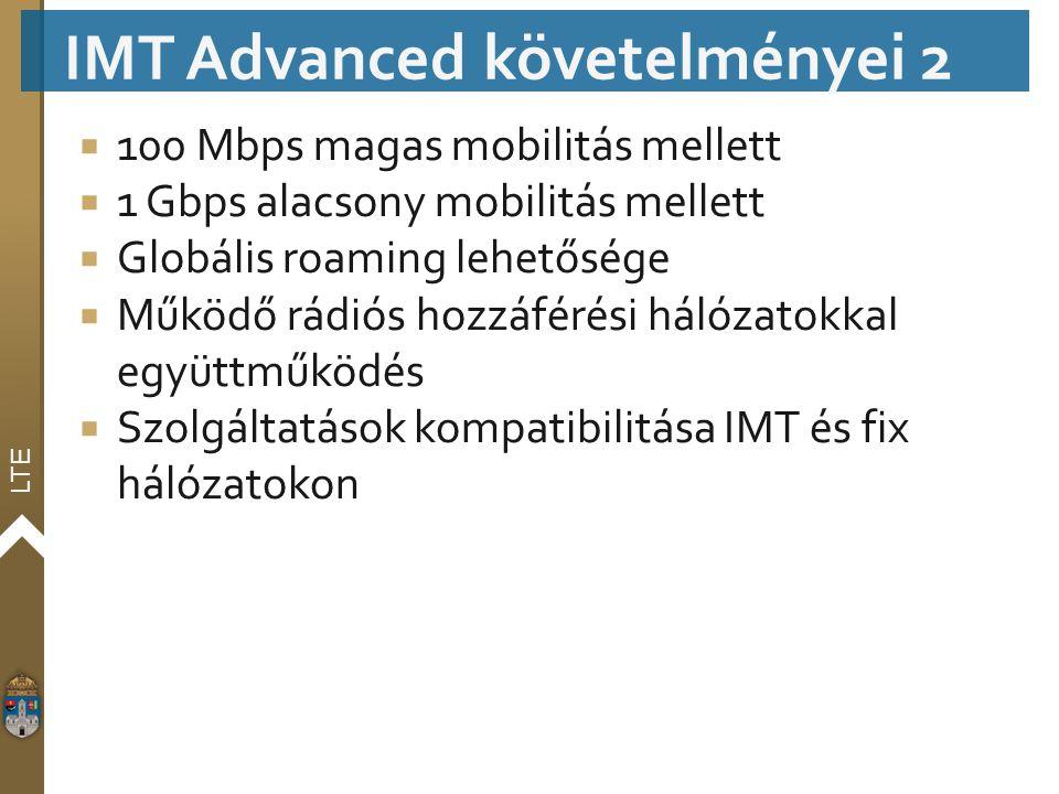 LTE  100 Mbps magas mobilitás mellett  1 Gbps alacsony mobilitás mellett  Globális roaming lehetősége  Működő rádiós hozzáférési hálózatokkal együ