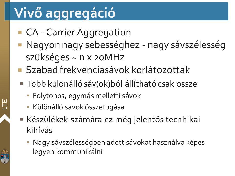 LTE  CA - Carrier Aggregation  Nagyon nagy sebességhez - nagy sávszélesség szükséges ~ n x 20MHz  Szabad frekvenciasávok korlátozottak  Több külön