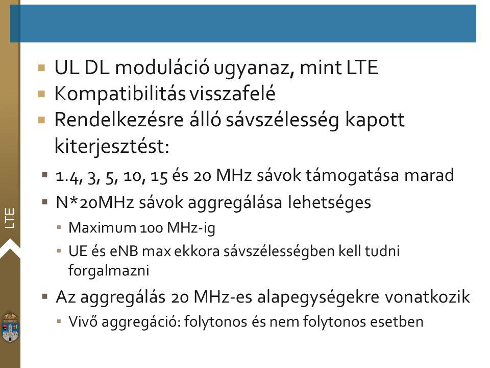 LTE  UL DL moduláció ugyanaz, mint LTE  Kompatibilitás visszafelé  Rendelkezésre álló sávszélesség kapott kiterjesztést:  1.4, 3, 5, 10, 15 és 20