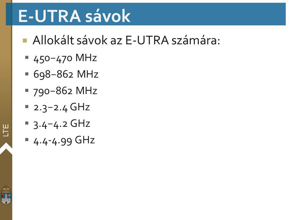 LTE  Allokált sávok az E-UTRA számára:  450−470 MHz  698−862 MHz  790−862 MHz  2.3−2.4 GHz  3.4−4.2 GHz  4.4-4.99 GHz E-UTRA sávok
