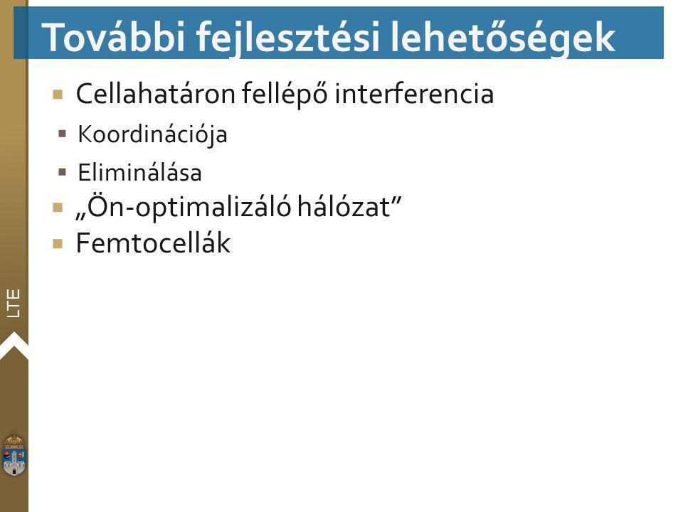 """LTE  Cellahatáron fellépő interferencia  Koordinációja  Eliminálása  """"Ön-optimalizáló hálózat""""  Femtocellák További fejlesztési lehetőségek"""