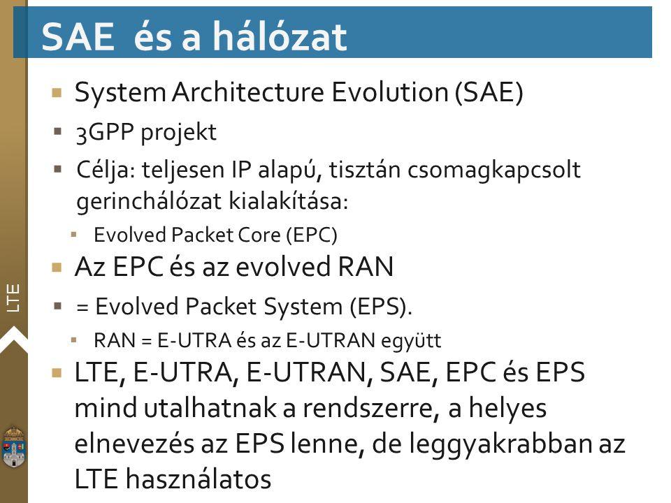LTE  System Architecture Evolution (SAE)  3GPP projekt  Célja: teljesen IP alapú, tisztán csomagkapcsolt gerinchálózat kialakítása: ▪ Evolved Packe