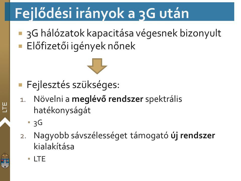 LTE  3G hálózatok kapacitása végesnek bizonyult  Előfizetői igények nőnek  Fejlesztés szükséges: 1. Növelni a meglévő rendszer spektrális hatékonys