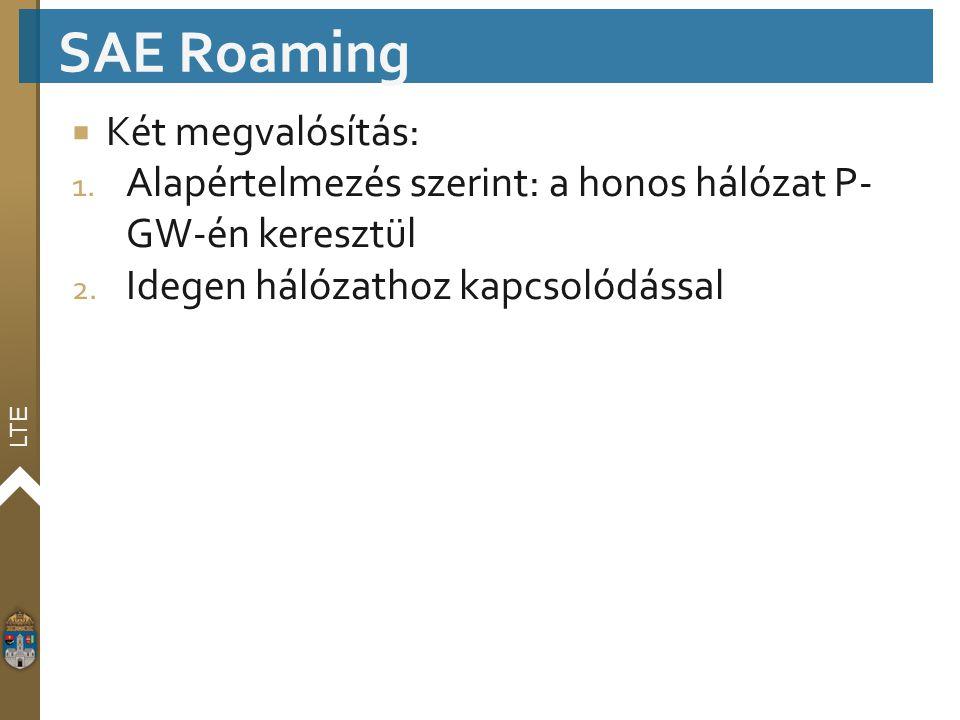 LTE  Két megvalósítás: 1. Alapértelmezés szerint: a honos hálózat P- GW-én keresztül 2. Idegen hálózathoz kapcsolódással SAE Roaming