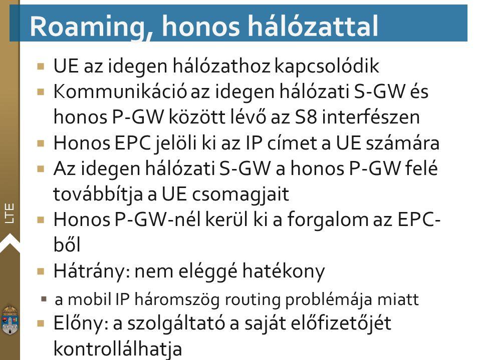 LTE  UE az idegen hálózathoz kapcsolódik  Kommunikáció az idegen hálózati S-GW és honos P-GW között lévő az S8 interfészen  Honos EPC jelöli ki az