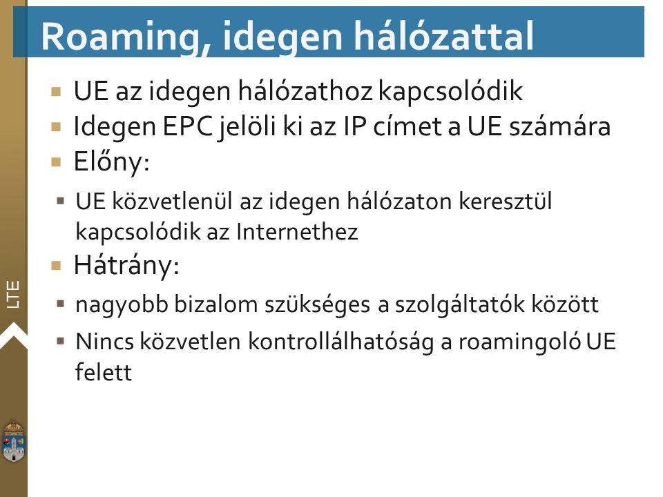 LTE  UE az idegen hálózathoz kapcsolódik  Idegen EPC jelöli ki az IP címet a UE számára  Előny:  UE közvetlenül az idegen hálózaton keresztül kapc